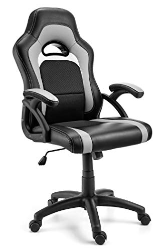 Office Chair, Ergonomic Computer Desk Chair, Leather, for Racing and Gaming, Great Lumbar Support