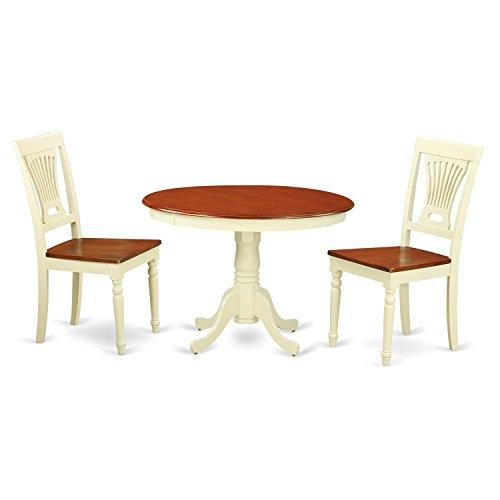 East West Furniture HLPL3-BMK-W 3 Piece Hartland Set, Buttermilk & Cherry