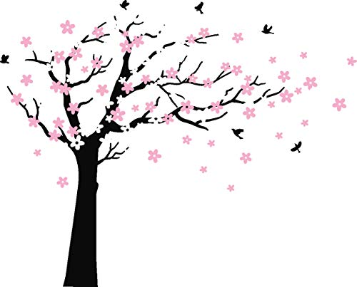 Tree Decals For Nursery - MAFENT Large Cherry Blossom Tree Blowing in The Wind Tree Wall Decals Wall Sticker Vinyl Wall Art Kids Rooms Teen Girls Boys Wallpaper Wall Stickers Room Decor (Black Tree, White and Pink Flower)