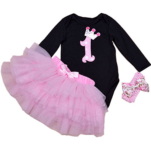 Baby Girls 1st First Birthday Minnie Dress Romper Tutu Skirt Headband Outfit O9