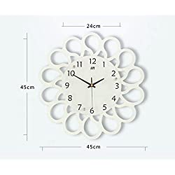 XY&GK Modern minimalist clock mute the creative living room wall clock bedroom wall charts fashion garden clock decoration clock,16 inch,White,beautify your home