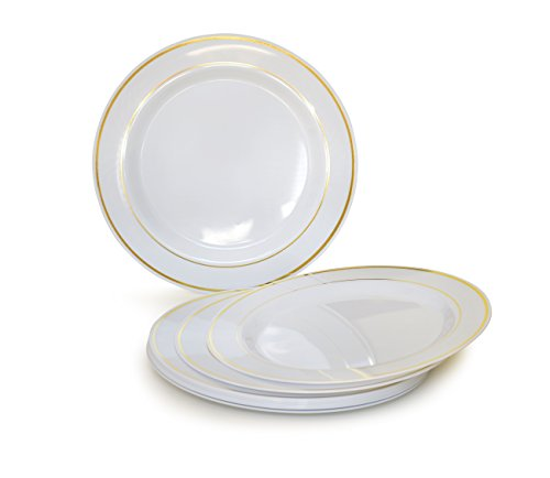 OCCASIONS 40 PACK, Heavyweight Disposable Wedding Party Plastic Plates (6'' Dessert/Bread Plate, White/Gold Rim)