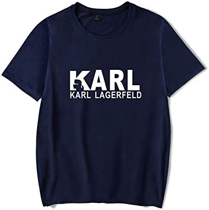 T-Shirt Mode Karl Lagerfeld Drucken Kurze Ärmel T-Stück Beiläufig Lose Trikot Unisex/Blau/XS