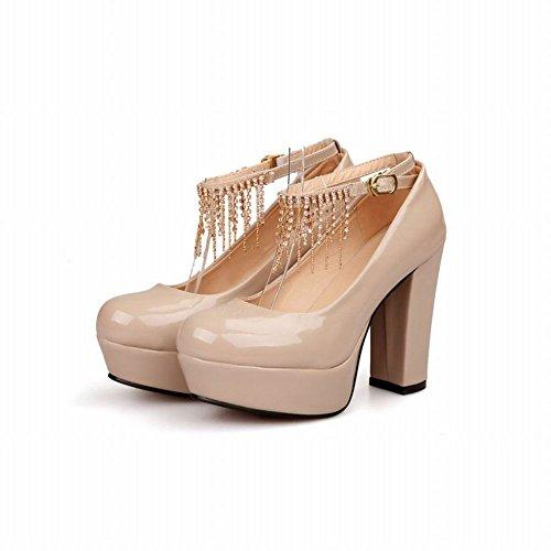 Latasa Mode Féminine Glands Cheville-sangle Chunky Talon Haut Plate-forme Robe Pompes Chaussures Abricot
