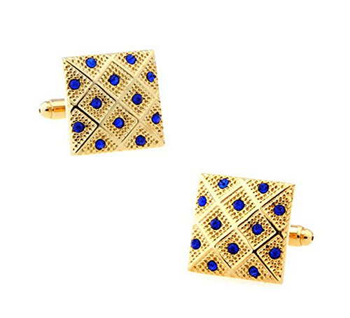 Hosaire Men's Cufflinks Elegant Square Cuff Link Delicate Cuff-link with Blue Crystal Golden