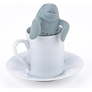 Manatee Shaped Tea Strainer Tools Silicone Tea Filter Diffuser Infuser Loose Leaf New Gray Color