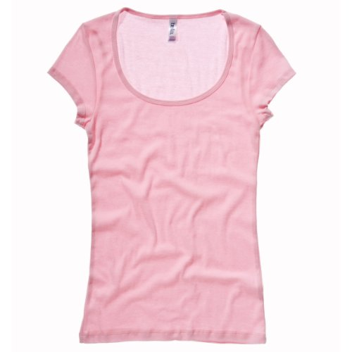Sheer Rib Scoop Neck T-shirt COLOUR Pink SIZE M