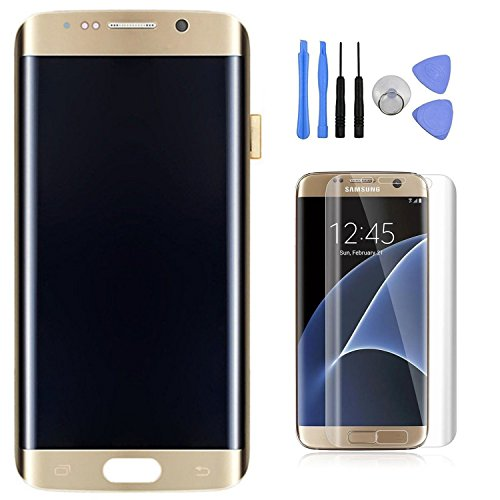 Samsung Galaxy S7 Edge LCD Display Digitizer Touch Screen Assembly For All Models (G935A G935V G935P G935T G935F) with Tempered Glass Screen Protector by Mr Repair Parts (Gold) by Mr Repair Parts