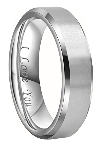 6 Mm Engraved Band - Crownal 4mm 6mm 8mm Titanium Wedding Couple Bands Rings Men Women Matte Brush Center Beveled Edges Engraved