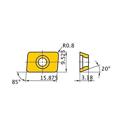 Mitsubishi Materials AEMW150308ER UP20M Coated Carbide Milling Insert, Class M, Round Honing, Parallelogram 85°, Grade UP20M, 0.125'' Thick, 0.031'' Corner Radius (Pack of 10)