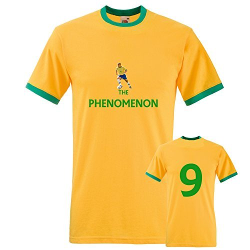 EBUK Ronaldo Brasil The Phenomenon Fútbol Retro Camiseta Hombre No Oficial - Amarillo, Medium: Amazon.es: Ropa y accesorios