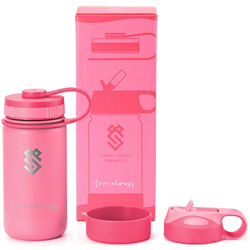- Summit Kids 14 oz Water Bottles, Insulated Stainless Steel Metal Bottle, Silicone Sleeve, BPA Free Plastic Cap & Straw Lid, Use as Travel Tumbler, Toddler Cup, or Kid Canteen for Boys & Girls