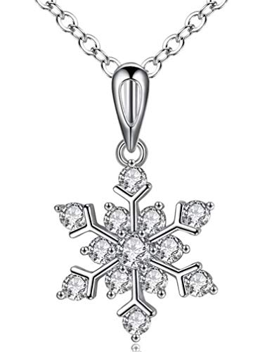 COOLSOME Snowflake Necklace Pendant Womens Girls 18K White Gold Plated Sparking 5A Cubic Zirconia Jewelry