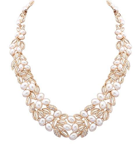 LINJIE JEWELRY Wedding Bridal Statement Necklace Pearl Floral Leaf Branch Layer Bib Collar Gold by LINJIE JEWELRY