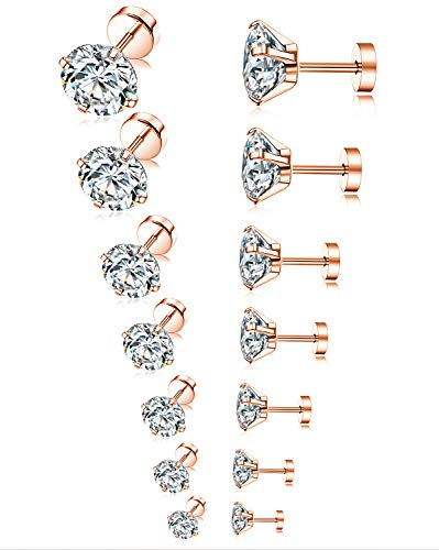 Tornito 7 Pairs 20G Stainless Steel Stud Earrings Round Cubic Zirconia Earring Set For Men Women 2MM-8MM (C:7 Pairs, Rose Gold Tone,Flat Back)