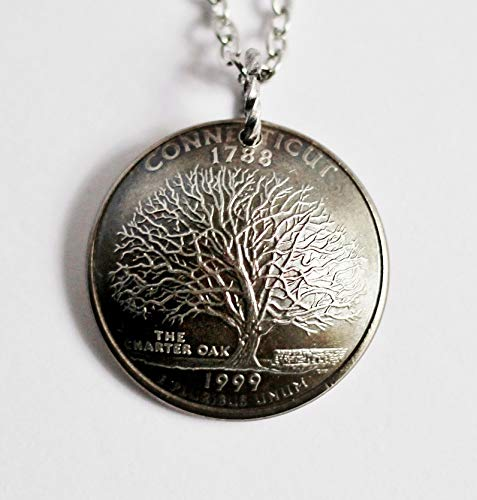 Connecticut U.S. State Quarter Domed Coin Pendant Necklace Charter Oak Tree 1999