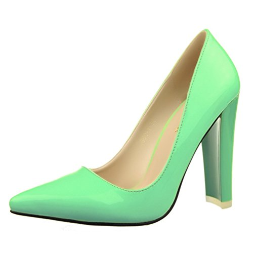 Pump Women's HooH Simple Pointed Green Toe Chunky Work qHrfB1qw