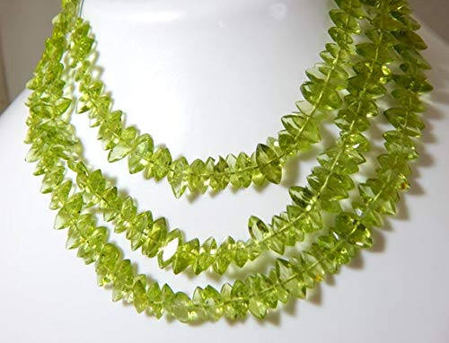 GemAbyss Beads Gemstone Peridot Faceted Marquise Beads 100 Persent Natural Gemstone Size 8.5x5.4 to 7.5x3.3 mm 9.5 Inch Long Inches Strand. - Inch 9.5 Strand