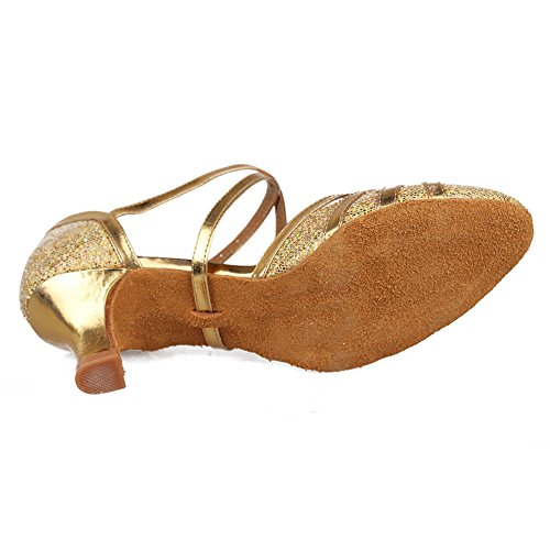 Hroyl Kvinnor Latin / Jazz Dansskor Läder Balsal Modell 511 Guld 2