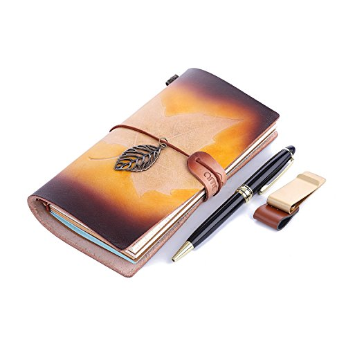 AMASSAN-Classic Genuine Leather Notebook Handmade Personalized , Refillable, Perfect for Writing, Gifts, Fountain Pen Users, Travelers, Professional, Diary,Traveler's Writing Notebook