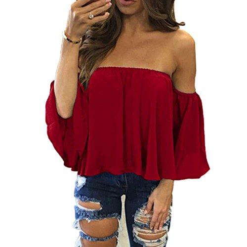 Toimothcn Women Off Shoulder Tops with Bell Sleeve Sexy Chiffon Blouse T - Sleepshirt Sleeve