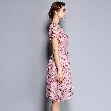 PU&PU Robe Aux femmes Gaine / Mousseline de Soie Vintage,Imprimé Col Arrondi Mi-long Soie , pink , xl