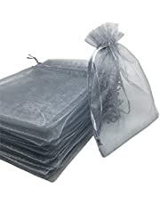 50PCS 8x12 Inches Organza Gift Bags with Drawstring Gift Packaging Big Bags (Gray)