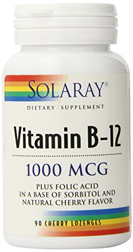 Solaray B 12 Lozenge Supplement, 1000mcg, 90 Cherry Lozenges