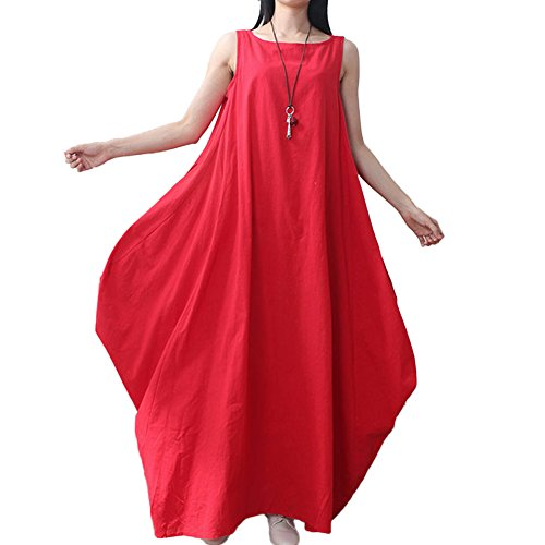 Romacci Women Maxi Sleeveless Dress Plus Size Pockets Loose Swing Tank Tunic Dress - Linen Red
