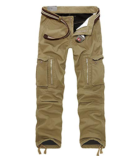 AOYOG Thicken Mens Winter Fleece Lined Cargo Pant Windproof Outdoor Work Pants