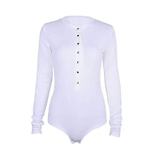 191789398184 Image Unavailable. Image not available for. Color  TIMEMEANS Womens  Jumpsuit Sexy Single-Breasted Long Sleeve Jumpsuit White