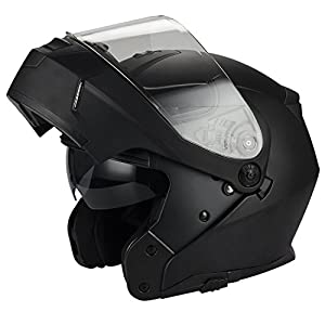 Traiangle Motorcycle Helmets Modular Dual Visor Flip Up [ DOT ] Matte Black