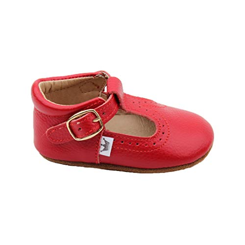 Liv & Leo Baby Girls Mary Jane T-bar T-Strap Oxford Soft Sole Crib Shoes Leather (0-6 Months, Red)