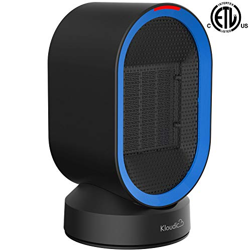 KLOUDIC Ceramic Space, Portable Desk Small Electric 2 Modes, 2s Heat-up, Tip-Over Overheat Auto Shut Off, Oscillating PTC Heater Home, Office (UL Listed), 600W, Black
