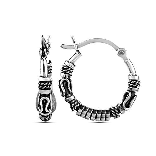(LeCalla Sterling Silver Jewelry Antique Light Weight Tribal Hoop Earrings for Girl Women)