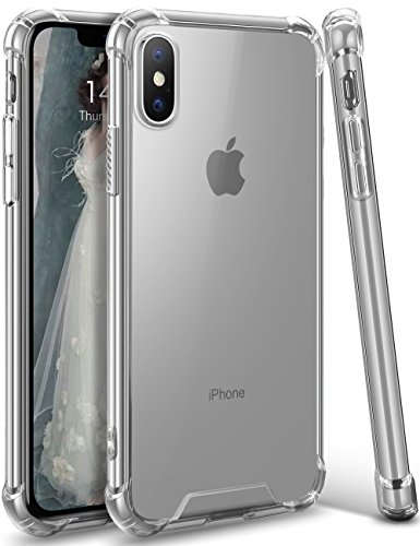 ANSIWEE Compatible with iPhone Xs (2018) and iPhone X (2017), Men and Womens Crystal Clear Shock Absorption Soft TPU Bumper Hard Back Panel Cover Case for Apple iPhone Xs and iPhone X 5.8 (Clear.)