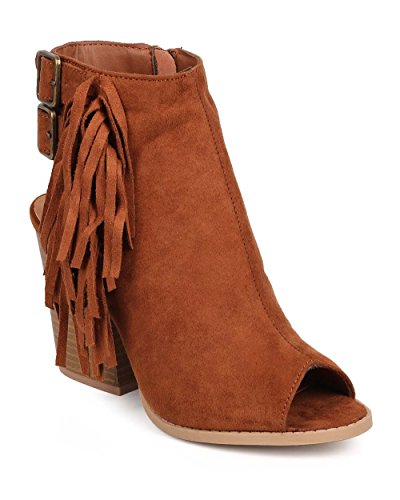 Qupid DG37 Women Suede Peep Toe Verical Fringe Buckle Cut Out Block Heel Bootie - Dark Rust