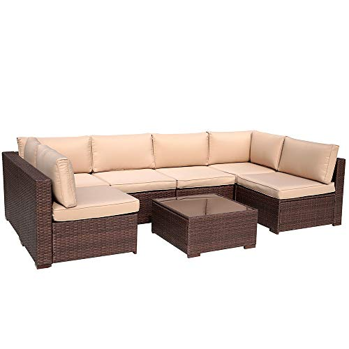 Patiorama 7 Piece Patio Conversation Set, Outdoor PE Wicker Rattan Sectional Furniture Sofa Set with Beige Seat and Back Cushions, Steel Frame, Espresso Brown (Discount Sectionals Outdoor)
