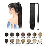"""BARSDAR 26"""" Long Straight Ponytail Extension Wrap Around Off Black Synthetic Hair Extensions"""