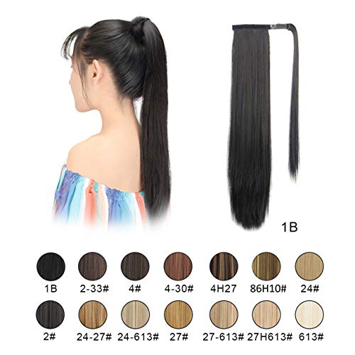 - BARSDAR Ponytail Extension Long Straight Wrap Around Clip in Hair Extension 26 Inch Synthetic Hairpiece for Women(Long Ponytail Extensions 1B#)
