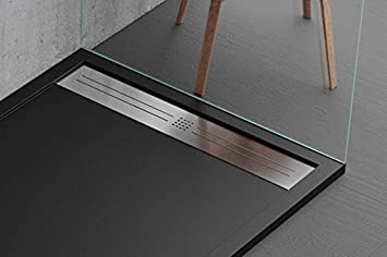 gelcoat design moderne en marbre et r/ésine /à effet pierre ardoise luxury slim 3 cm mod/èle Malaga noir Receveur de douche noir