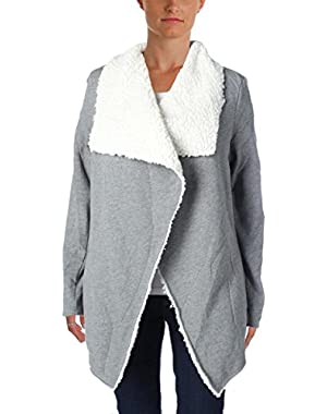 Guess Womens Sherpa Lined Open Front Cardigan Sweater