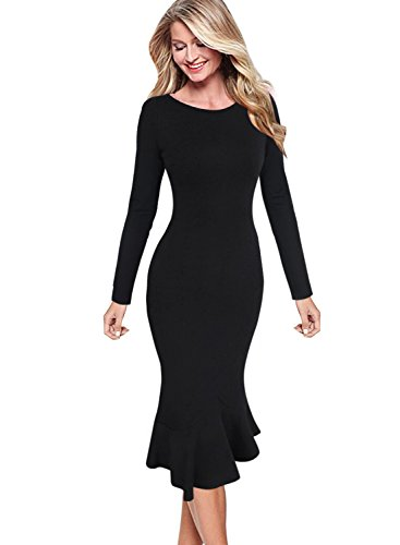 VFSHOW Womens Elegant Vintage Cocktail Party Mermaid Midi Mid-Calf Dress 1053 BLK XXL