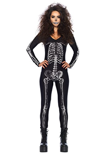 Leg Avenue Women's X-Ray Skeleton Catsuit Costume, Black/White, Small - Skeleton Costume