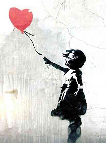 Stampa Fotografica Stile Street Art Disegno Bambina Con Palloncino