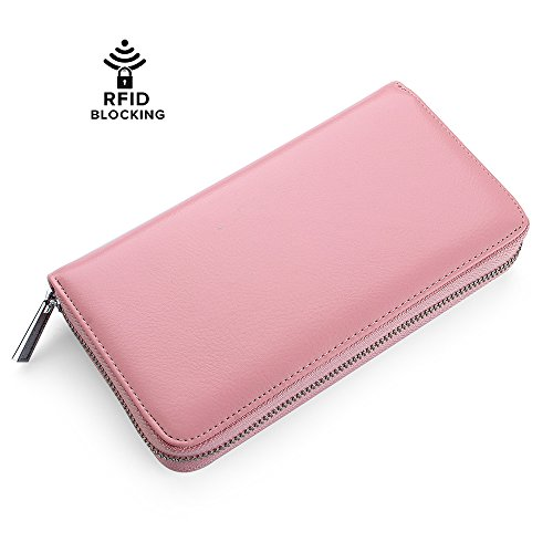 Buvelife Credit Card Wallet Leather RFID Wallet with Zipper for Women or Men, Huge Storage Capacity Credit Card Holder (lovely Pink) by Buvelife (Image #1)