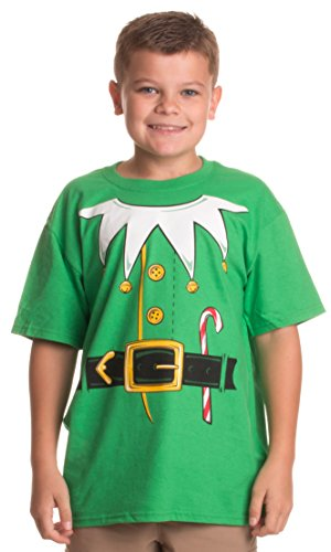 Santa's Elf Costume | Jumbo Print Novelty Christmas Holiday Humor Youth T-shirt-Youth,S Green ()