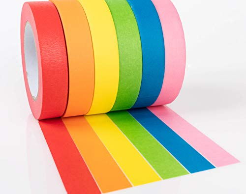 (Colored Masking Tape by Bandle B. 6 Jumbo Rolls, 1 in x 180 feet Each. Vibrant Colored Tape for Crafting, Labeling, Color-Coding, Kids Games, Art Teacher Supplies, Decorating, Moving and Much More.)