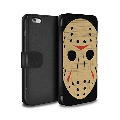STUFF4 PU Leather Wallet Flip Case/Cover for Apple iPhone 6+/Plus 5.5 / Jason Vorhees Mask Inspired Design/Horror Movie Art Collection ()