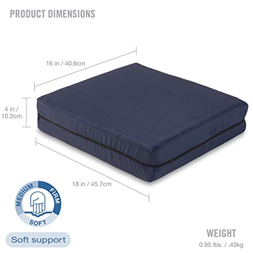 DMI Polyfoam Wheelchair Seat Cushion, Standard Foam Seat Cushion for Chairs, Adds Support, Comfort, Reduces Pressure and Stress on Back, Navy, 4 x 16 x 18 inches